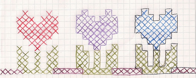hearts-as-flowers border pattern