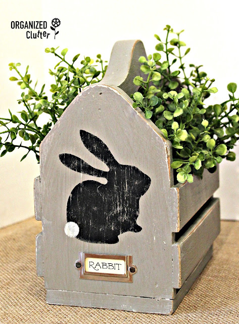 Up-cycled Dated Thrift Shop Wood Basket to Easter Decor organizedclutter.net