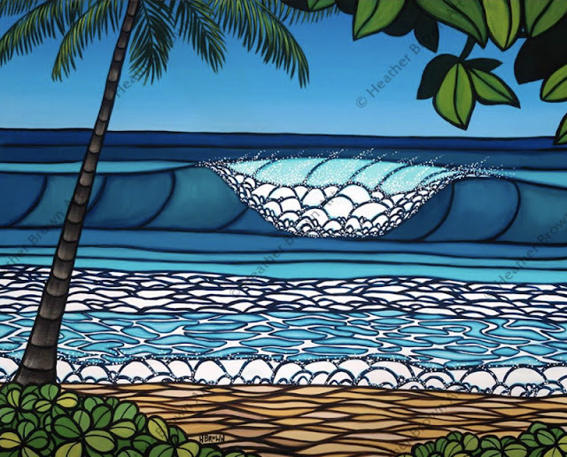 heather brown surf art of pipeline north shore Oahu