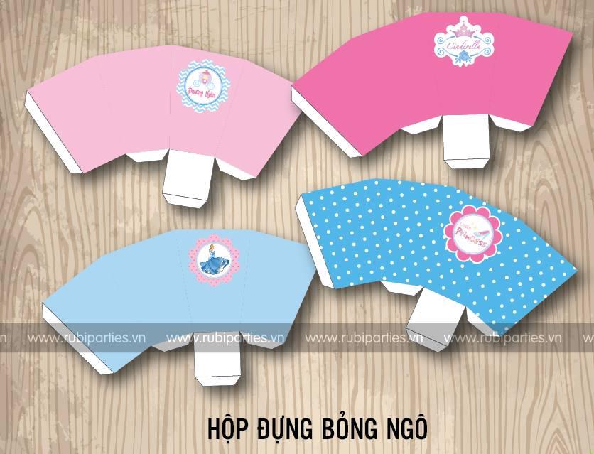 Hop dung bong ngo sinh nhat theo chu de Cong chua Lo Lem