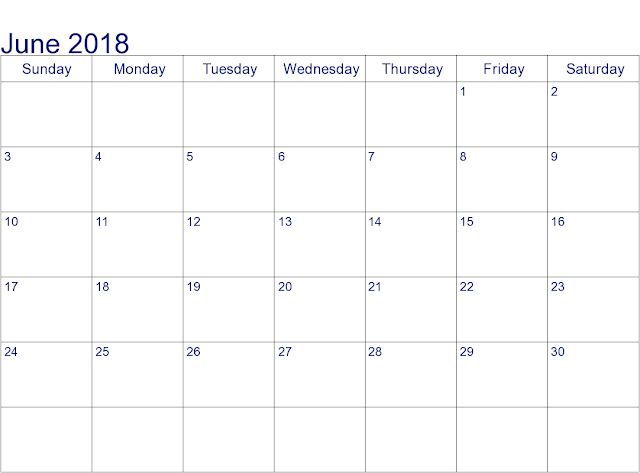 June 2018 Holiday Calendar USA