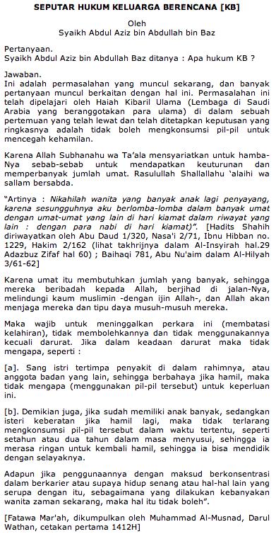Hukum Islam tentang KB