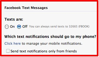 how to stop getting texts from facebook on my phone