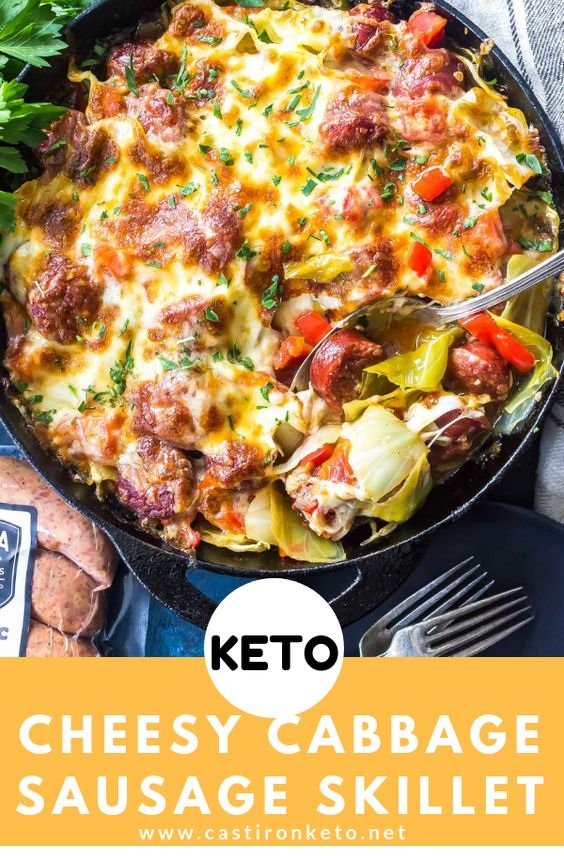 Keto Cheesy Cabbage Sausage Skillet