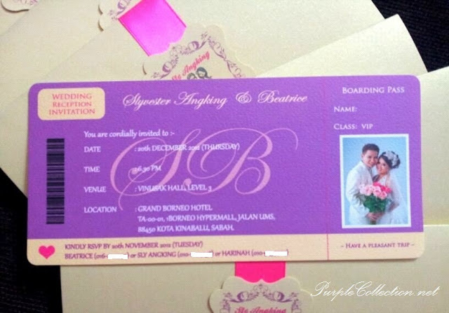 Beatrice's Purple Boarding Pass Wedding Card, Beatrice, Purple Wedding, Purple, Boarding Pass Wedding Card, Boarding Pass, Wedding Card, Card, Marriage, Boarding Pass Pocket
