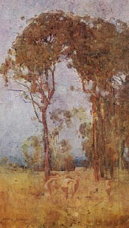 Arthur Streeton showcasing the atmospheric quality of square brush
