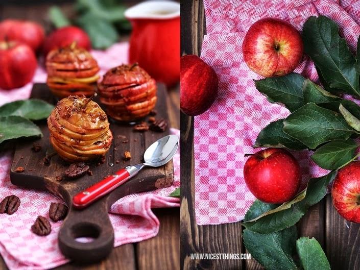 Apfel Karamell Millefeuille mit Pekannüssen geschichtet
