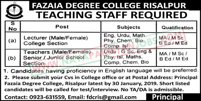 Fazaia Degree College Risalpur Jobs Jan 2019, Fazaia Degree College Risalpur Jobs