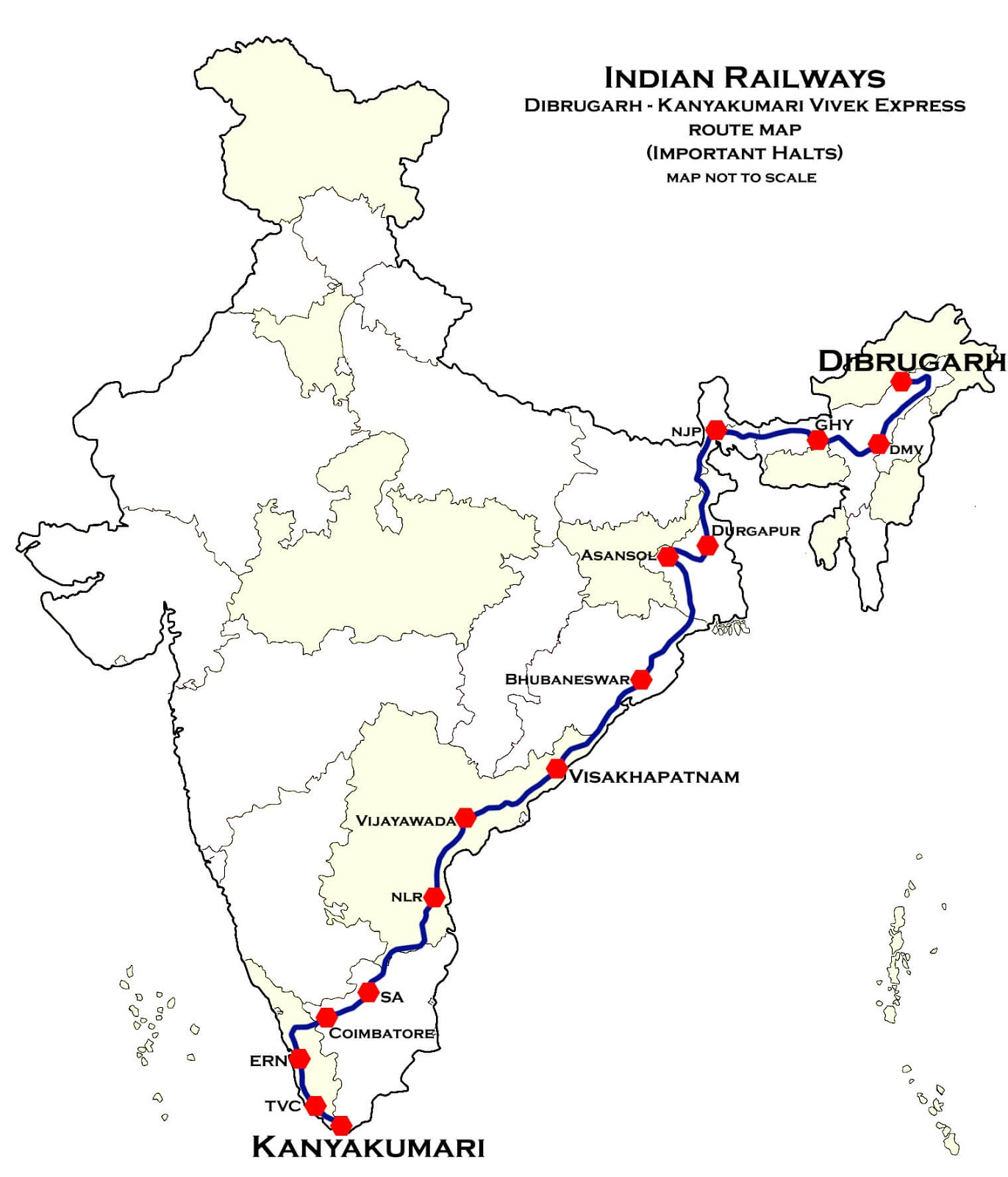 The Vivek Express route map largest railway routes in india
