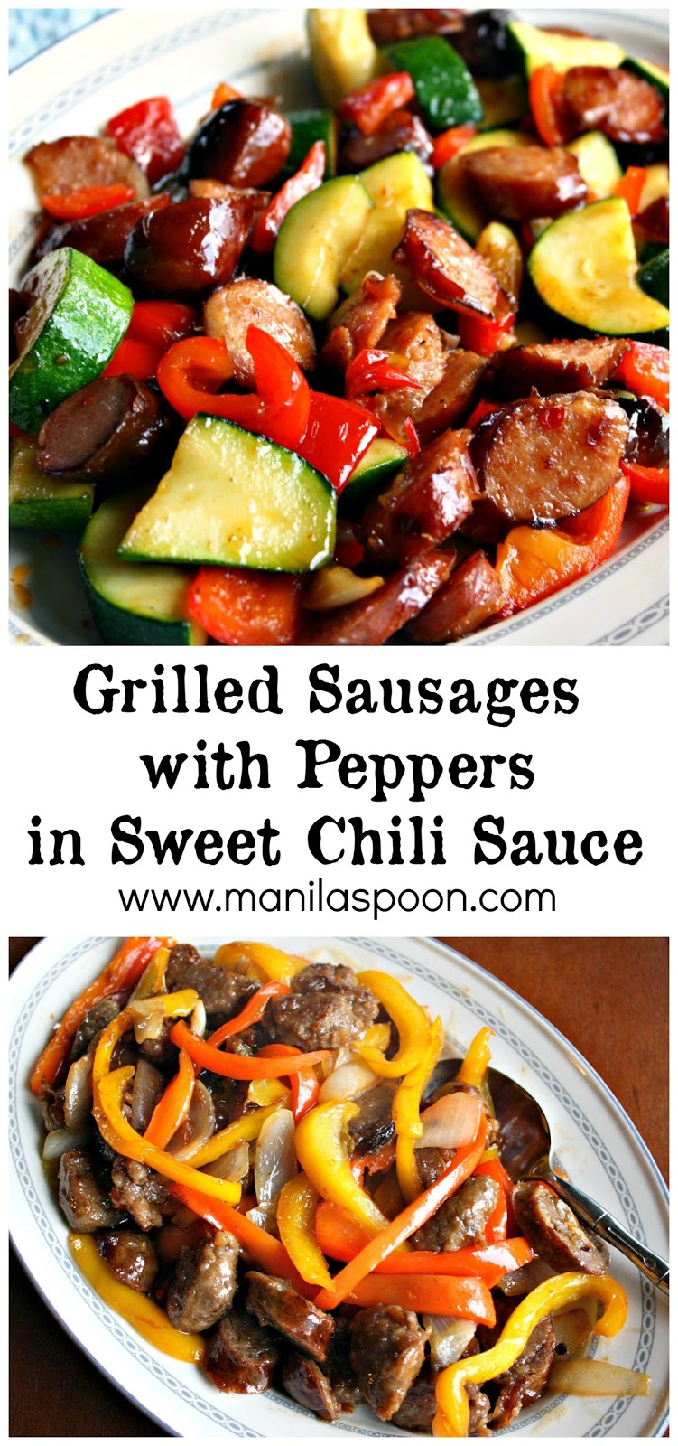 Just 10 MINUTES to make this quick, easy and delicious stir-fry! Perfect for using those left-over grilled sausages or hot dogs and with zucchinis and sweet peppers added it's a wholesome dish for everyone!!  #grilled #sausage #sweet #chili #sauce
