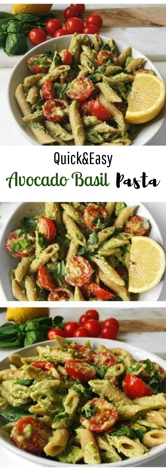 Quick and Easy Basil Avocado Pasta #pasta #vegetarian