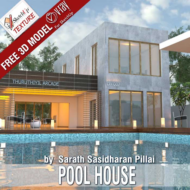 free sketchup 3d model Pool House and vray exterior visopt