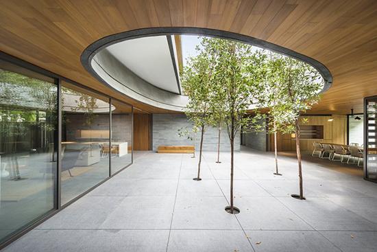 contoh Taman minimalis di tengah bangunan