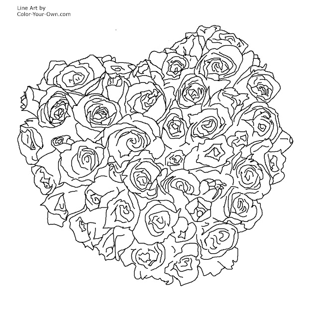 Bouquet Of Flowers Coloring Page Drawing Hearts And Roses Coloring Pages  Valentine Heart Of Roses