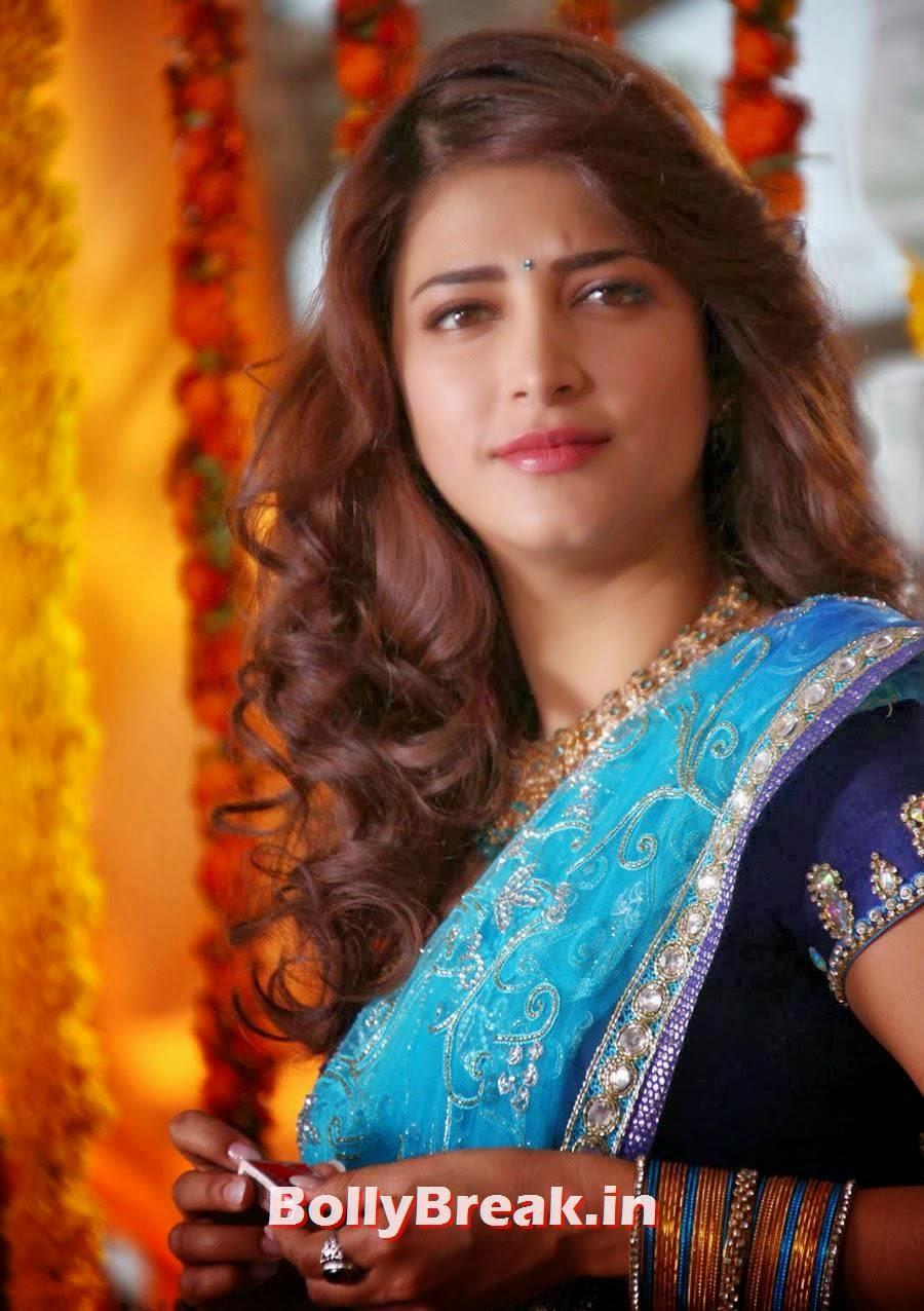 Shruti Haasan In Blue Saree - Film Actress Hot Photos - 12
