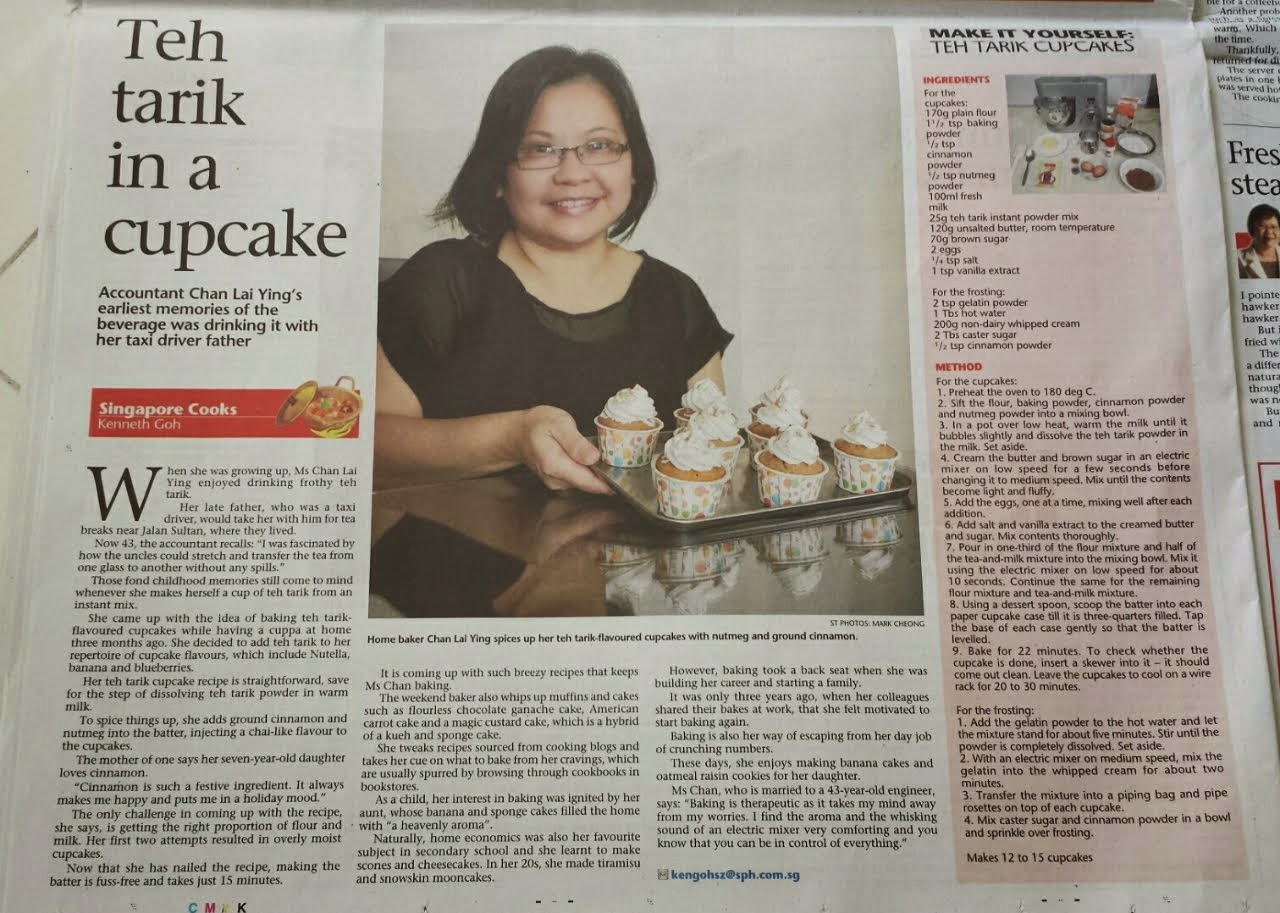 Spiced Teh Tarik Cupcake recipe featured on The Sunday Times' Singapore Cooks on 17 May 2015