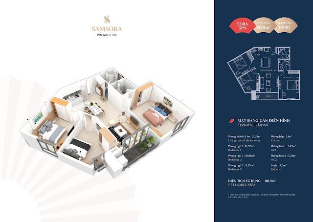 Thiết kế căn hộ 19 & 20: Diện tích 80.95m2