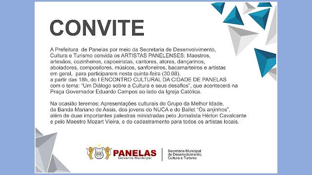Convite para 1º Encontro Cultural da Cidade de Panelas