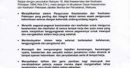 Amirul Rofiq Roslee Dasar Keselamatan Dan Kesihatan Dan Perlaksanaannya Ditempat Kerja