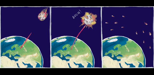 Image. Asteroid destruction. Author: Elena Khavina, MIPT Press Office