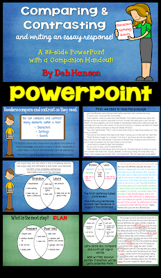 Teach your upper elementary and middle school students to compare and contrast characters, settings, and events in reading with this compare and contrast activity.  Students get lots of practice writing an essay response with this PowerPoint! A PowerPoint companion handout is also included!