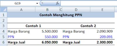 rumus excel untuk menghitung PPN