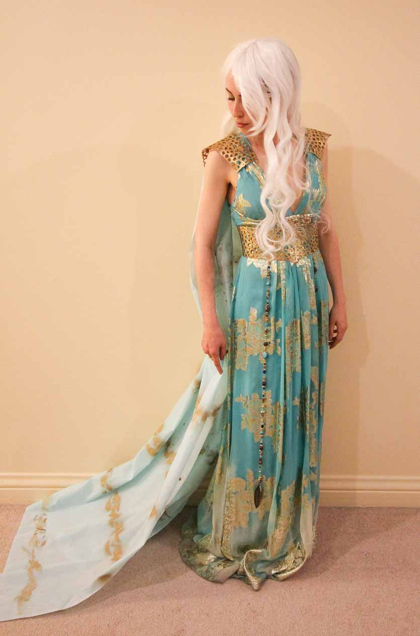 Assembled Khaleesi costume, with DIY gold shoulder plates and belt