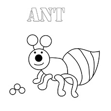 Alphabet A For Ant in Animal Coloring Pages For Kids