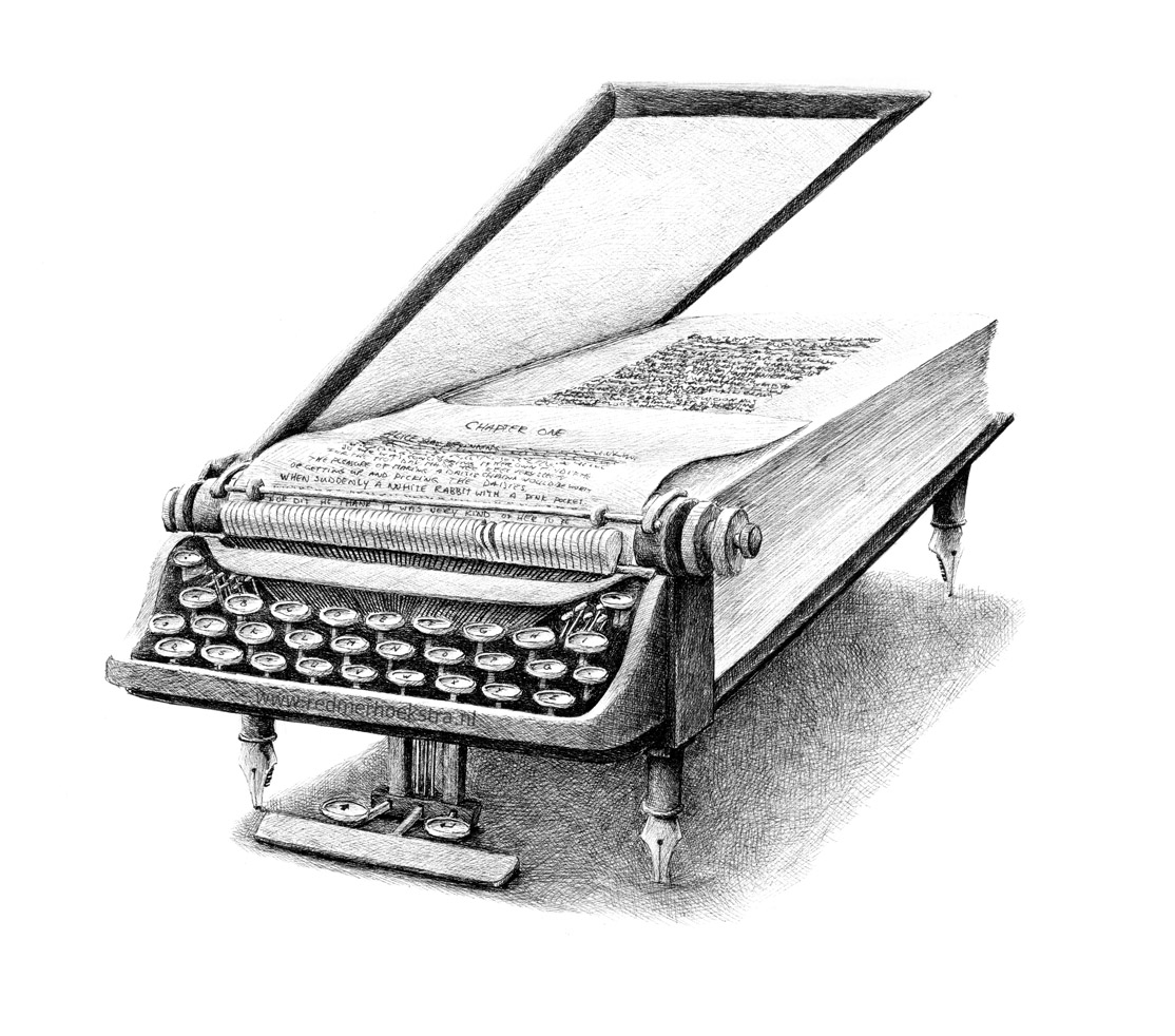 01-Typewriter-Book-Redmer-Hoekstra-Drawing-Fantastic-and-Surreal-World-of-Hoekstra-www-designstack-co