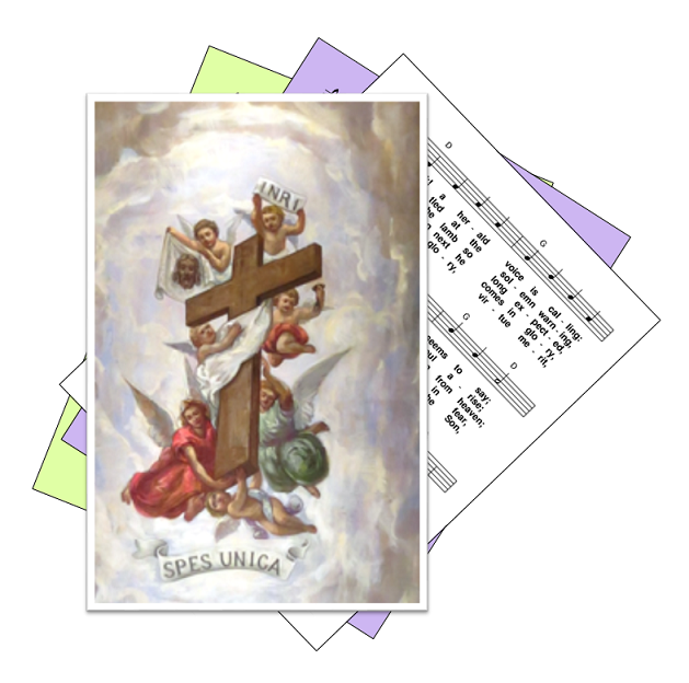 Hymn background, with Holy Cross feast day picture