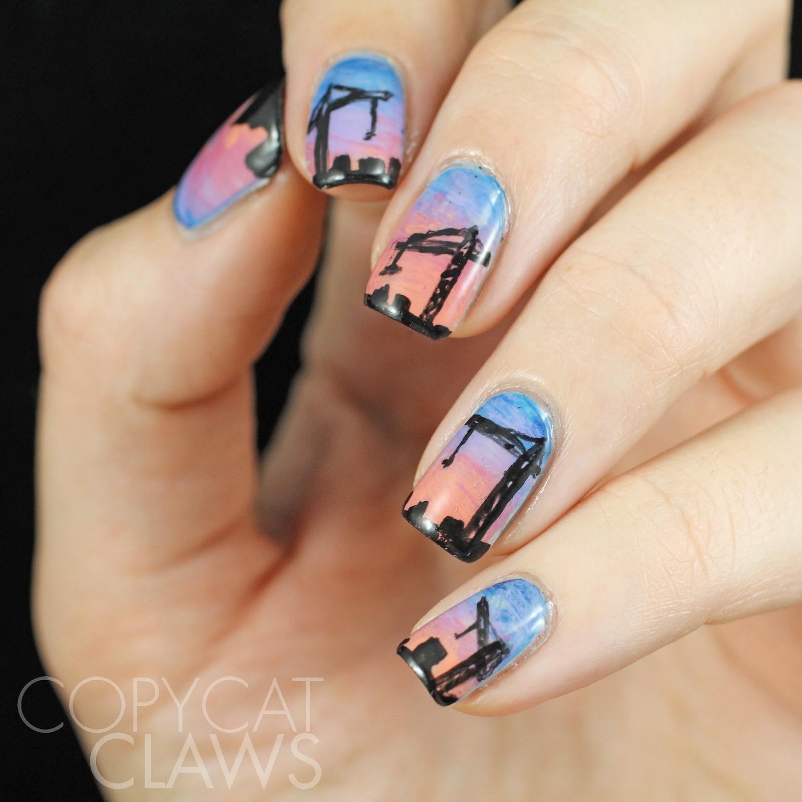 Q Riouser Q Riouser Nail Art: Copycat Claws: Construction Crane Nail Art