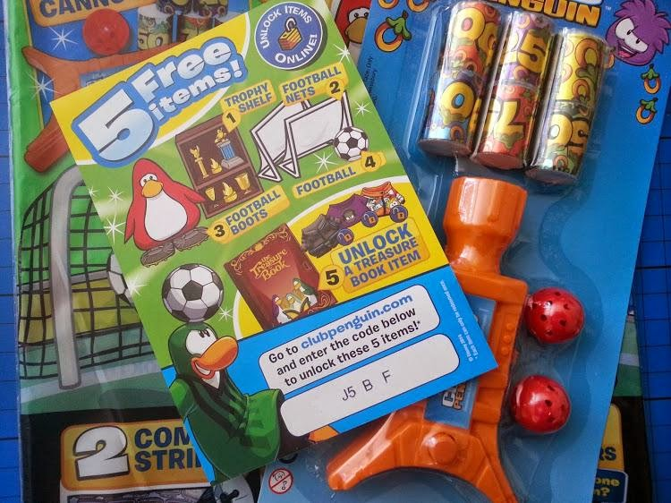 Club Penguin game and magazine review - example football special magazine free gifts