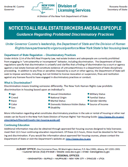 DOS Notice to Licensees in Real Estate Brokerage