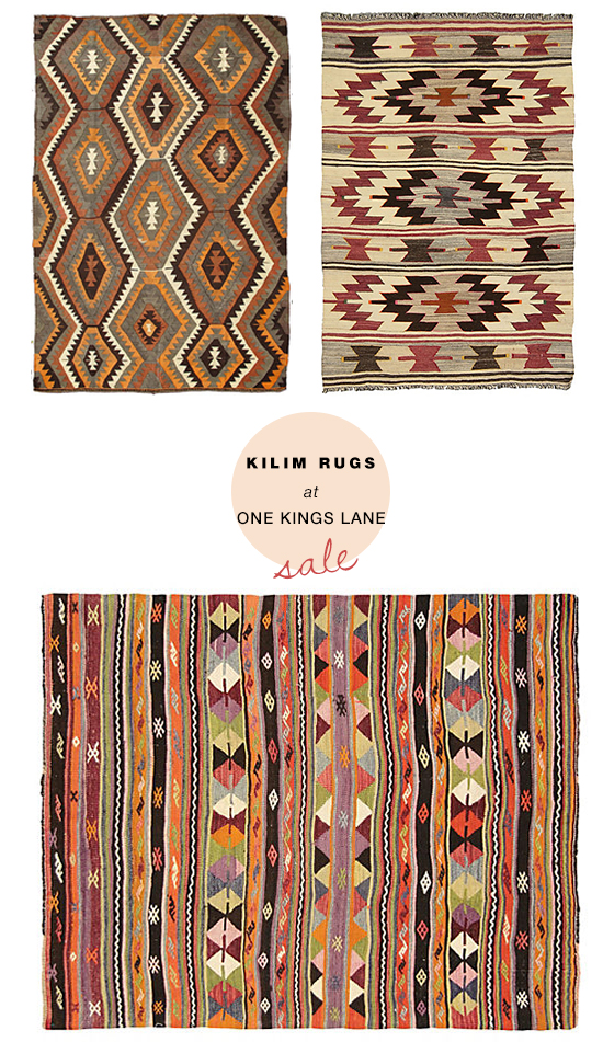 Vintage flat weaves kilim rugs on sale at One Kings Lane