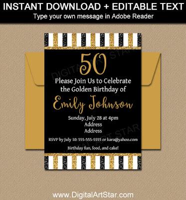 50th birthday invitation printable - black and gold glitter striped birthday invite
