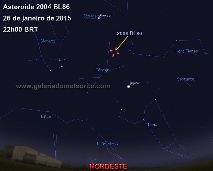 como ver o asteroide 2004 BL86 no céu do dia 26 de janeiro
