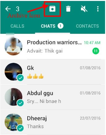 Whatsapp chat hide