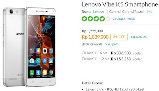 Harga Baru Lenovo Vibe K5 LTE Android Murah 5 inch
