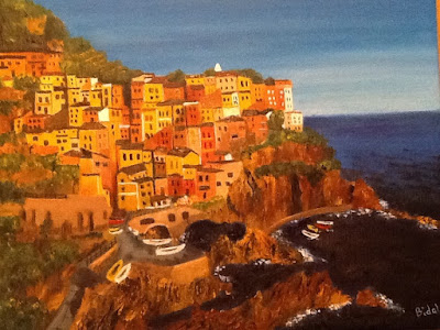 Painting of Manarola in the Cinque Terre at sunset.