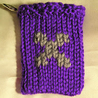 Knitted X, monogrammed X, gift card holder