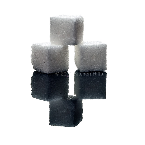 Sugar Cubes on Black Acrylic for Simple Syrup