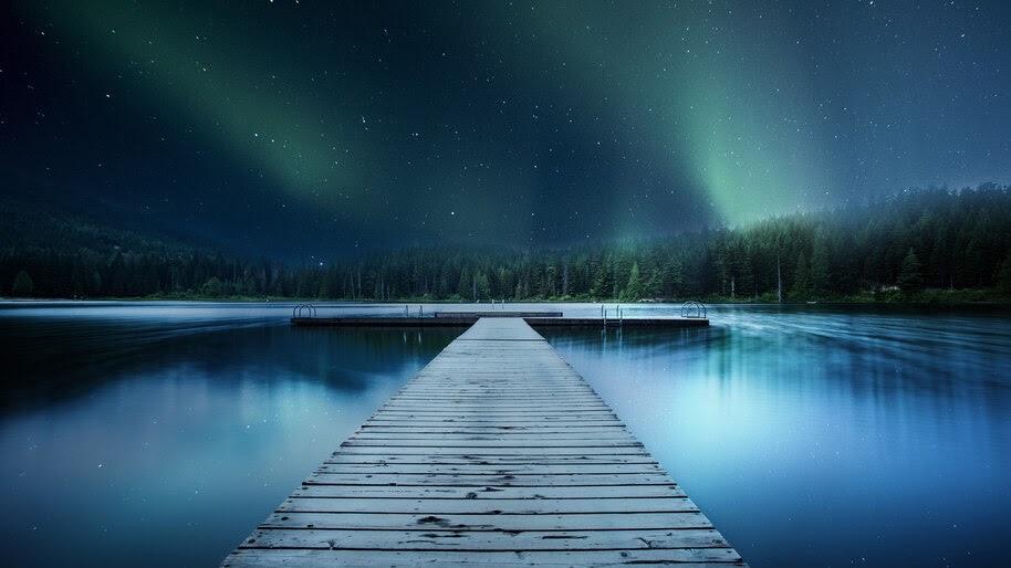 Night, Sky, Aurora, Lake, Bridge, Scenery, 8K, #4.2319