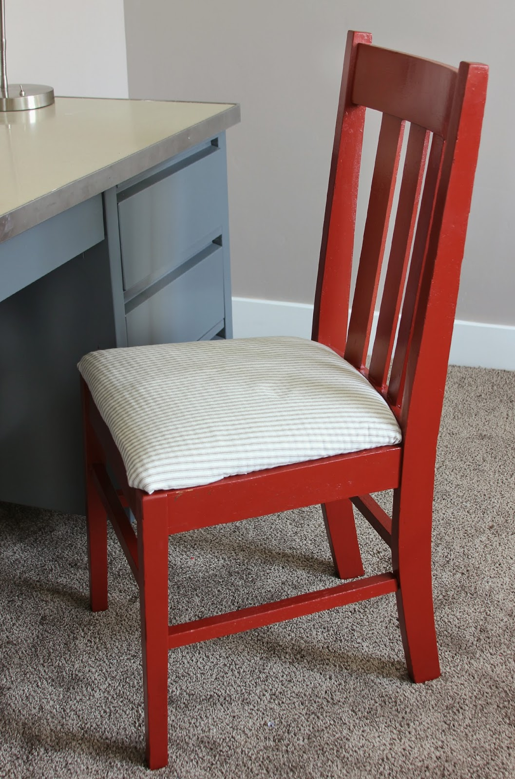 A Fun Contrast So I Used Sherwin Williams Fireweed SW 6328 Perfect Red And Basic Ticking Stripe Fabric For The Chair