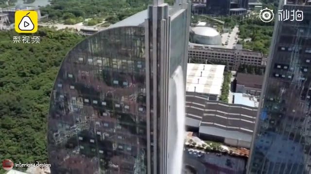 Artificial Waterfall Pours Out Of Guiyang Skyscraper 3