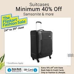 Minimum 40% off on Suitcases (Samsonite & more) + Extra 10% Off with SBI Debit / Credit Card @ Flipkart