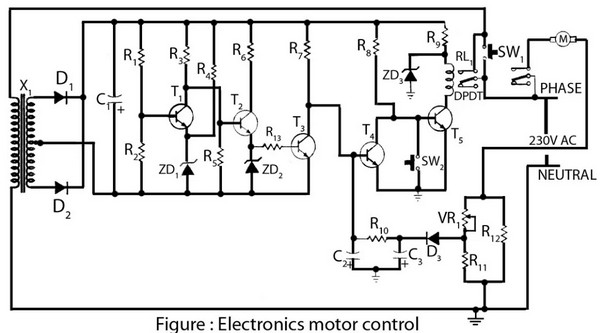 circuit schematic electronics motor controller based on transistor