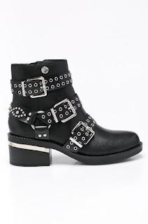 Botine dama moderne tip rock din piele naturala cu barete dese negre Guess Jeans