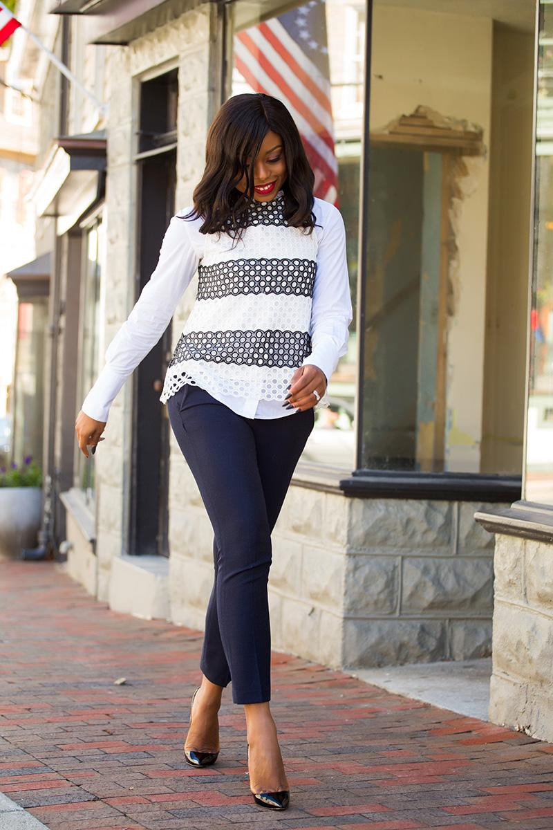 Fall work style, anthropologie top, jcrew ankle pants, Christian louboutin pumps, jadore-fashion.com