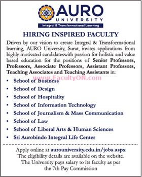 Auro University Surat Wanted Professor/Associate Professor