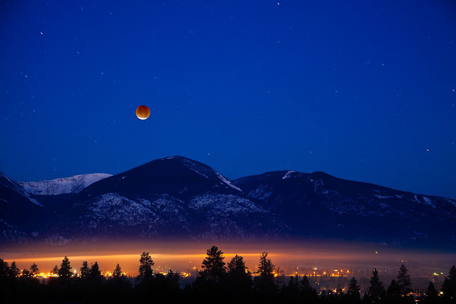 Lunar Eclipse seen over Bitterroot Mountains